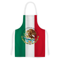 """Bruce Stanfield """"Mexico Flag And Coat Of Arms"""" Red Green Artistic Apron"""