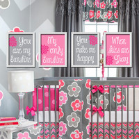 Hot Pink Gray - You Are My Sunshine Set of 4 Wall Art Decor Prints Poster Baby Nursery Child Kid Room Typography