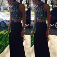 Custom Made High Neck Black Two Pieces Long Prom Dresses, 2 Pieces Formal Dresses
