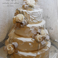 Burlap & Sola Cake Topper Picks, Set of 4, includes jute ribbon for tiers. Handmade of sola flowers, burlap, lace, caspia. Ready to Ship!