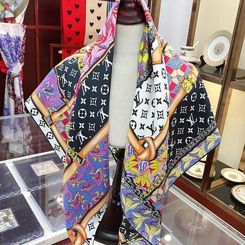 LV Louis Vuitton new printed letter stitching color scarf silk scarf