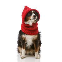 Hoodwinked Slouchy Hooded Cowl for Dogs, Cozy Doggie Sweater Shown in Valentine's Day Scarlet Red: Choose From 30 Colors (Small/Med)