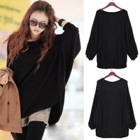 Women Plus Size Batwing Knit Sweater Loose Jumper Pullover Tops Knitwear Blouse F_F (Color Black) = 1946725892