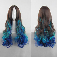 Gradient Peacock Turquoise Wavy Cosplay Wig Harajuku Style Long 85cm Heat Resistant Free Shipping