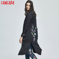 Tangada Fashion 2017 Spring Black Floral Embroidery Long Trench For Women Long Sleeve Cozy Coats