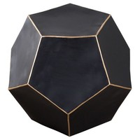 India Artisan Gold Rimmed Geometric Side Table