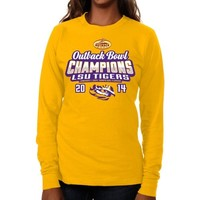 LSU Tigers 2014 Outback Bowl Champions Ladies Victory Kiss Long Sleeve T-Shirt - Gold