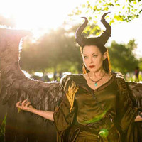 """NEWLY IMPROVED! 12.5"""" Maleficent Inspired Horns  3D Printed (Ultra Light Weight Plastic) Suitable for adults comic-con"""