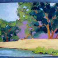 LAKE HERMAN, BENICIA - 12 x 16 - Original Oil Painting - Fine Art - Water - Landscape - Blue - Purple - Hills - Green - Honeystreasures