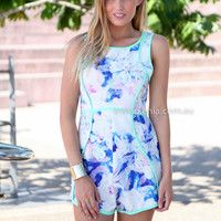 STUNNED BY YOU PLAYSUIT , DRESSES, TOPS, BOTTOMS, JACKETS & JUMPERS, ACCESSORIES, 50% OFF SALE, PRE ORDER, NEW ARRIVALS, PLAYSUIT, COLOUR, GIFT VOUCHER,,Blue,Green,Print,JUMPSUIT,SLEEVELESS,MINI Australia, Queensland, Brisbane