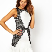 TFNC Dress With Lace Side and Fluted Hem