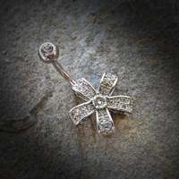 Five Petal Flower Belly Ring with Round CZ Center 316L Surgical Steel Belly Button Navel Rings