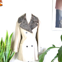 1960s Lady Blair tan jacket w/ faux fur collar // long vintage deadstock peacoat ILGWU