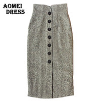 Women Slim Vintage High Waist Skirt Woolen Fall Fashion Winter Ladies Jupe Button Midi Faldas Saias Gray Pencil Skirt Clothing