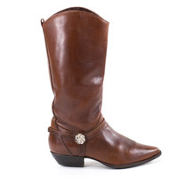 Cowboy Boots Brown Southwestern Leather Western Cowgirl Boots Womens Size 7.5