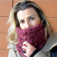 infinity Scarf.a Block Infinity Scarf.Loop Scarf,Circle Scarf,Neck Warmer.Purple Crochet Infinity,for her,gifts idea,valentines day