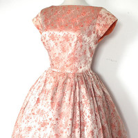 Vintage 1950's Dress // 50s Peach Floral Brocade Party Prom Dress with Bow // Marie Antoinette // DIVINE