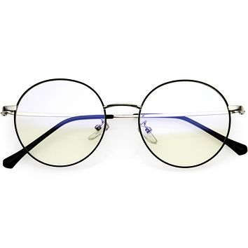 Posh Round Metal Frame Sleek Circle Blue Light Glasses D219