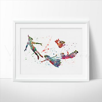 Peter Pan 2 Watercolor Art Print
