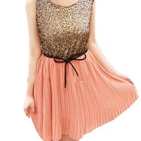 Allegra K Women Sequin Panel Pleated Summer Party Short Tank Dresses