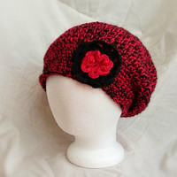 Red  Black crocheted  slouch hat  Flower cloche Hot red and black ladies beanie Teen girls fuchsia  winter cap