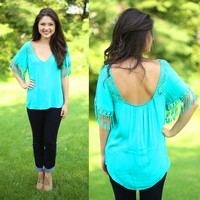 Fringe Fantasy Top in Mint