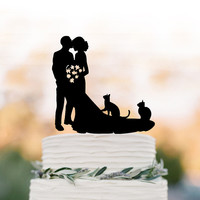 Bride and groom Wedding Cake topperwith two cats, bride and groom wedding cake topper silhouette, cat cake topper acrylic