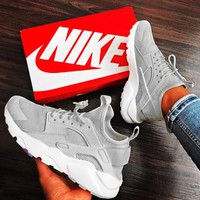 Nike Air Huarache Trending Women Men Casual Running Sport Shoes Sneakers Grey