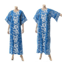 Vintage 70s Hawaiian Caftan Dress 1970s Angel Sleeve Blue + White Hibiscus Flowers Hippie Tropical Floral Luau Maxi Gown