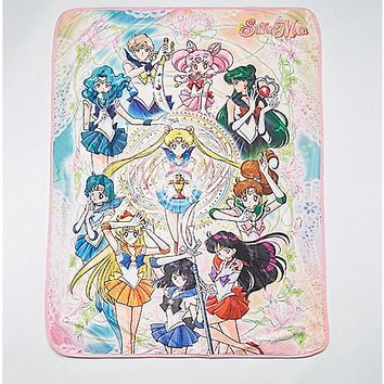Group Sailor Moon Fleece Blanket - Spencer's