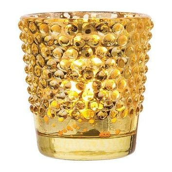 Vintage Glass Glass Candle Holder (2.5-Inch, Candace Design, Hobnail Motif, Mercury Gold) - For Use with Tea Lights
