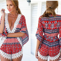 Red Vintage Print Bell Sleeve V-Neck with Crochet Lace Accent Romper