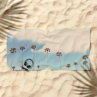 Palm trees Beach Towel by sylviacookphotography