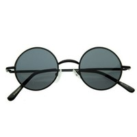 zeroUV - Small Retro-Vintage Style Lennon Inspired Round Metal Circle Sunglasses