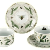 Tea Leaves and Honey Bees Set of 2 Tea Cups with Saucers