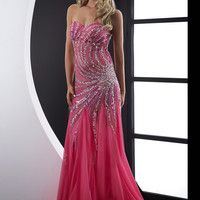 Jasz Couture 5096 -Fuchsia Strapless Fitted Chiffon Prom Dresses Online