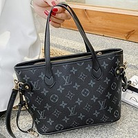 LV New fashion monogram print leather shoulder bag handbag crossbody bag Black