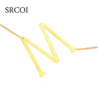 Fahion Stainless Steel Initial Necklace Silver & Gold Custom Name Necklace Personalized Jewelry Choker Necklace Letter Pendant