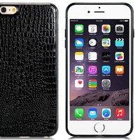 """Alligator Pattern TPU Rubber Shell Case for 5.5"""" iPhone 6 Plus (Black)"""