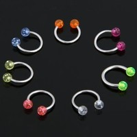 7 Multicolor Ball Horseshoe Steel Labret Lip Rings Bars: Amazon.ca: Health & Personal Care