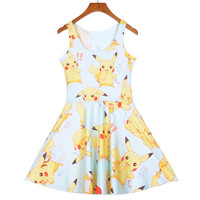 Sexy Girl Women Summer Cartoon Pocket Monster Pokemon Prints Reversible Sleeveless Skater Pleated Dress