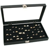 Novel Box® Glass Top Black Jewelry Display Case 72 Slot Compartment Ring Tray + Custom NB Pouch