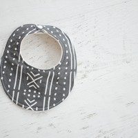 Baby Bib in Dark Mudcloth