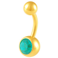 Girls Cute Basic Blue Zircon Crystal Belly Button Ring [Gauge: 14G - 1.6mm / Length: 10mm] Anodized Surgical Steel & Crystal (Gold Anodized) //...