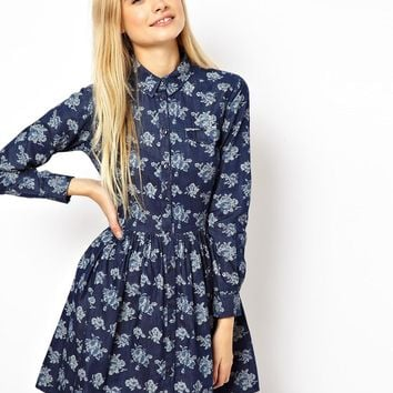 ASOS Shirt Dress In Chambray Floral Print