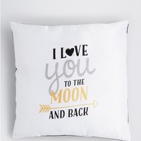 Golden Love To The Moon Throw Pillow