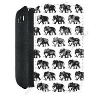 Monochrome Elephant PU Leather Flip Cell Mobile Phone Case iPhone 4 4S 5 5S , Samsung Galaxy S3 S4