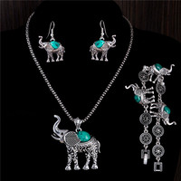 Bohemian Style Women Beautiful Elephant Jewelry Set Include Necklace Earrings Bracelet SM6