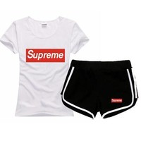 One-nice™ Superme Women Men Fashion Cotton Sport Shirt Shorts Set Two-Piece Sportswear