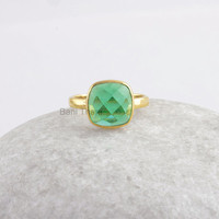 Green Fluorite Quartz Cushion Bezel Ring Micron Gold Plated Sterling Silver Ring - 10mm #1007